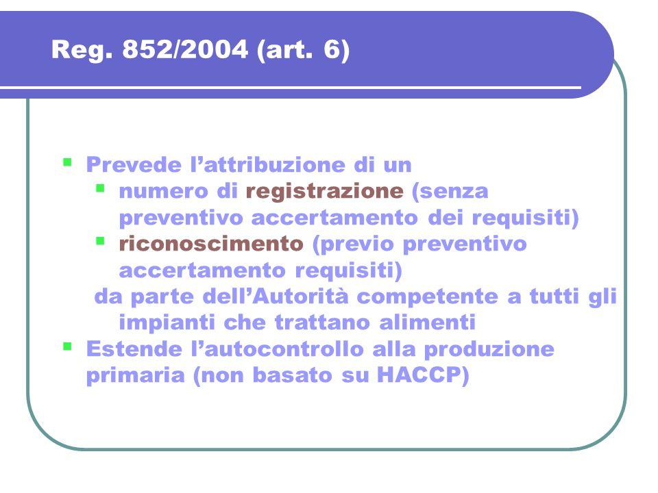 Reg. 852/2004 (art. 6) Prevede l'attribuzione di un
