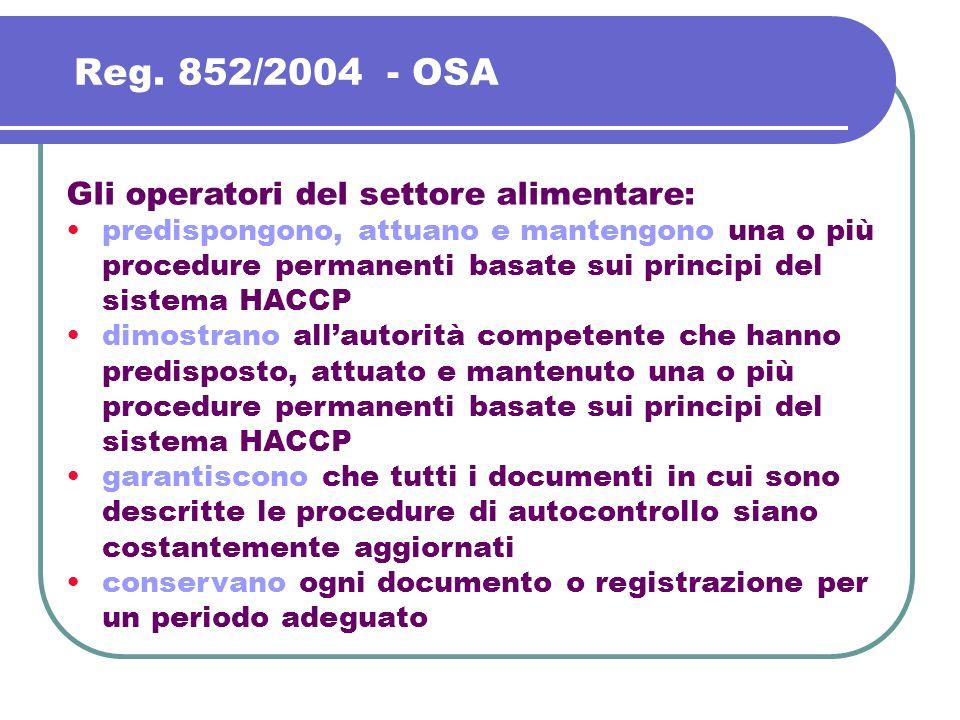Reg. 852/2004 - OSA Gli operatori del settore alimentare: