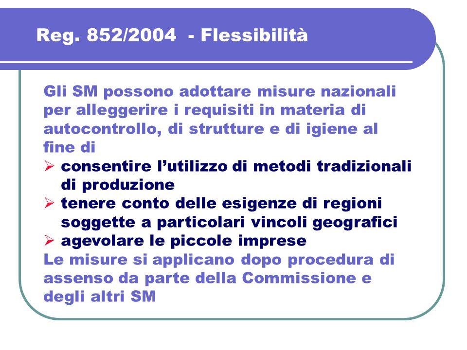 Reg. 852/2004 - Flessibilità Gli SM possono adottare misure nazionali