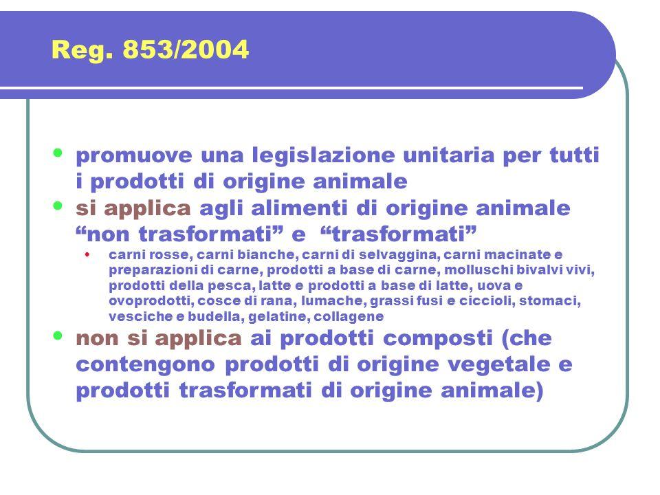 Reg. 853/2004 promuove una legislazione unitaria per tutti i prodotti di origine animale.