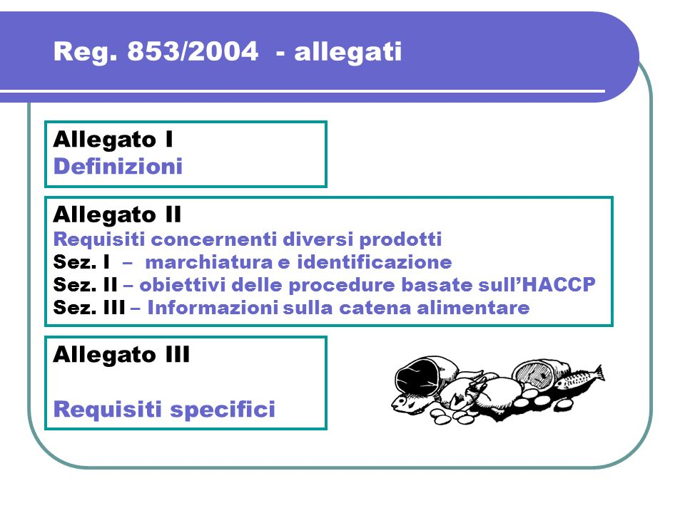 Reg. 853/2004 - allegati Allegato I Definizioni Allegato II
