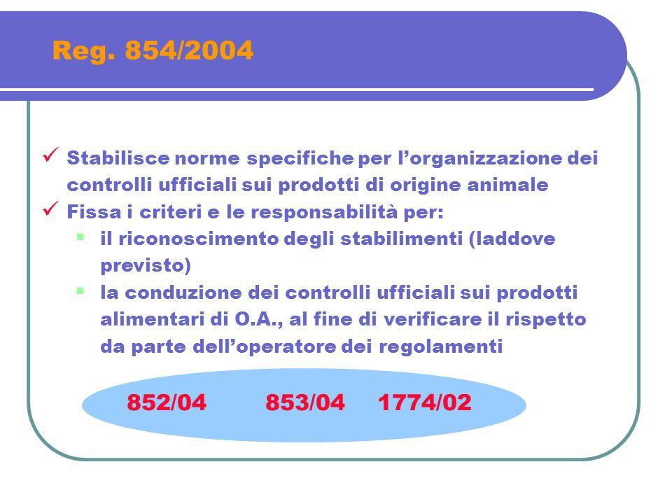 Reg. 854/2004 Stabilisce norme specifiche per l'organizzazione dei controlli ufficiali sui prodotti di origine animale.