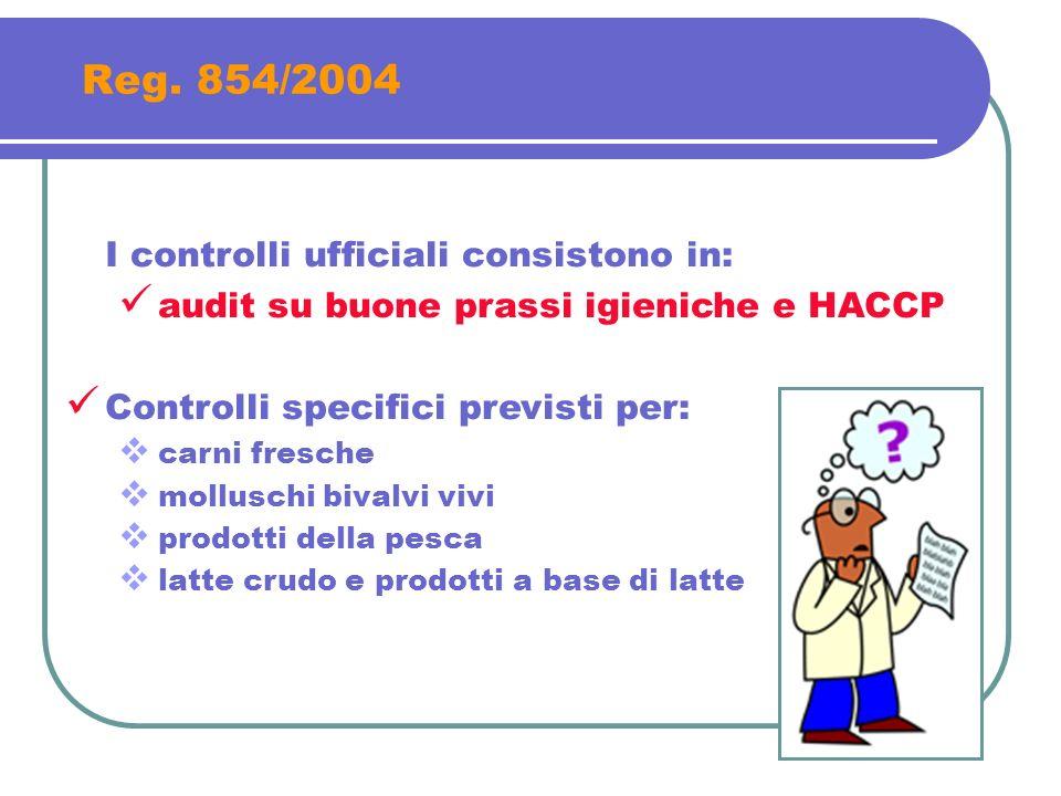 Reg. 854/2004 I controlli ufficiali consistono in: