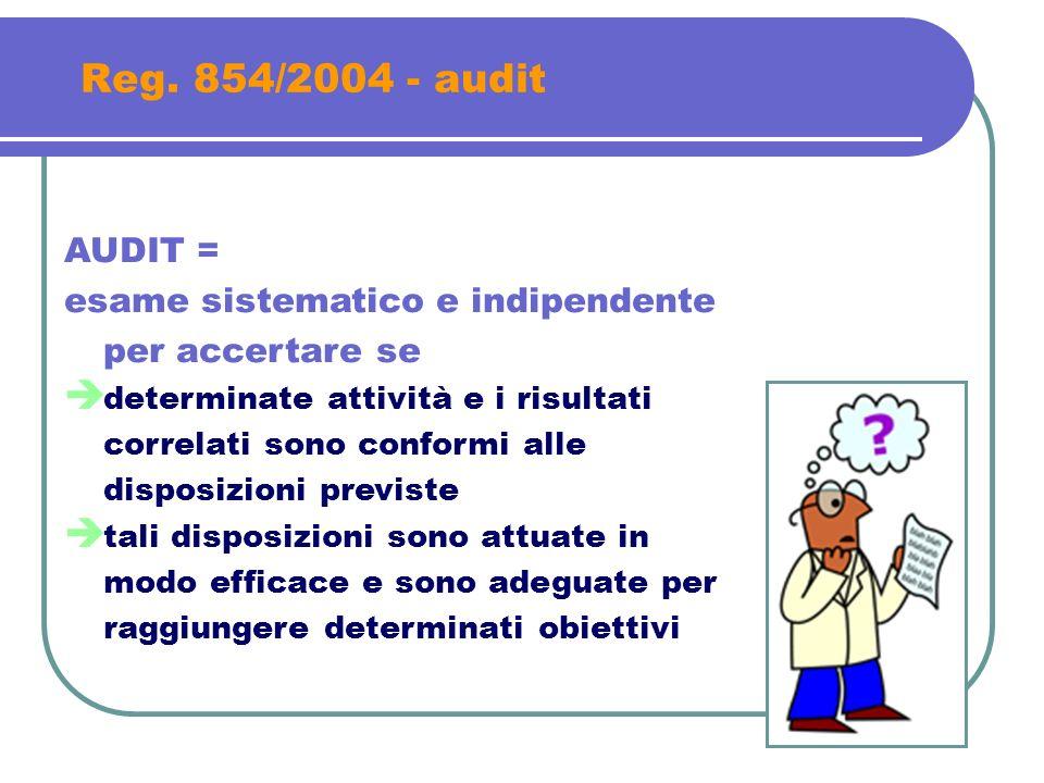 Reg. 854/2004 - audit AUDIT = esame sistematico e indipendente per accertare se.