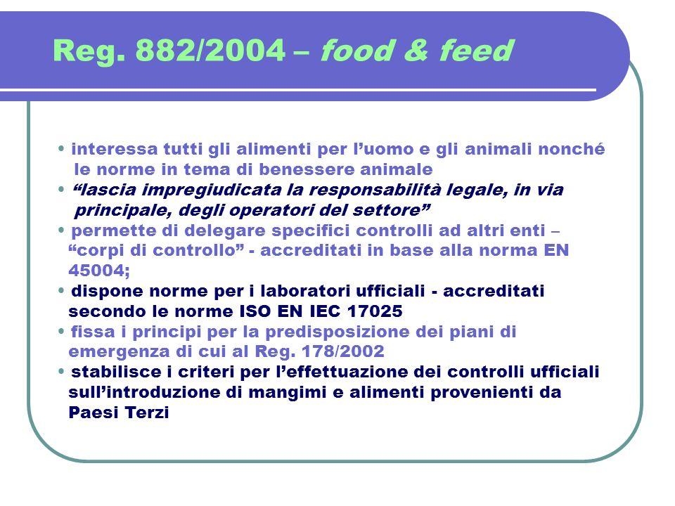 Reg. 882/2004 – food & feed interessa tutti gli alimenti per l'uomo e gli animali nonché. le norme in tema di benessere animale.