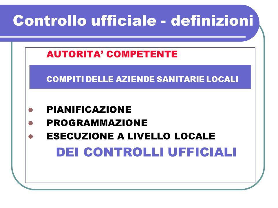 Controllo ufficiale - definizioni