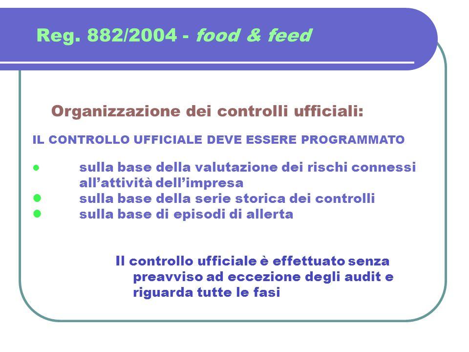 Reg. 882/2004 - food & feed Organizzazione dei controlli ufficiali: