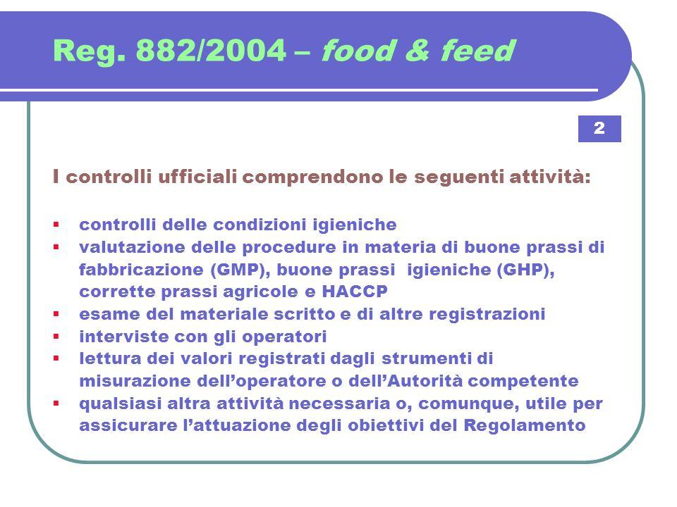 Reg. 882/2004 – food & feed 2. I controlli ufficiali comprendono le seguenti attività: controlli delle condizioni igieniche.