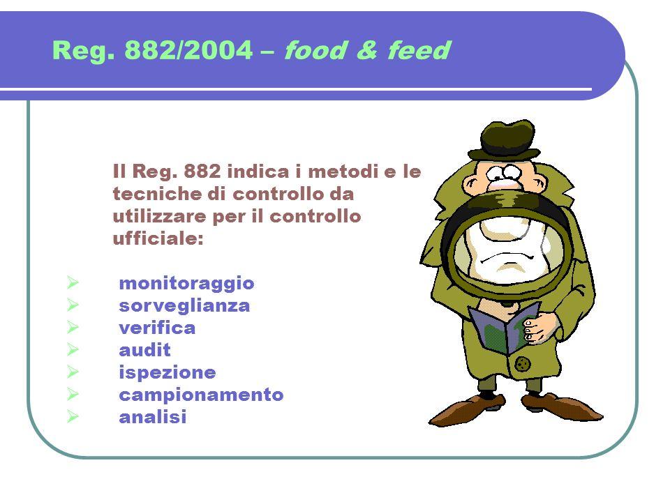 Reg. 882/2004 – food & feed Il Reg. 882 indica i metodi e le tecniche di controllo da utilizzare per il controllo ufficiale: