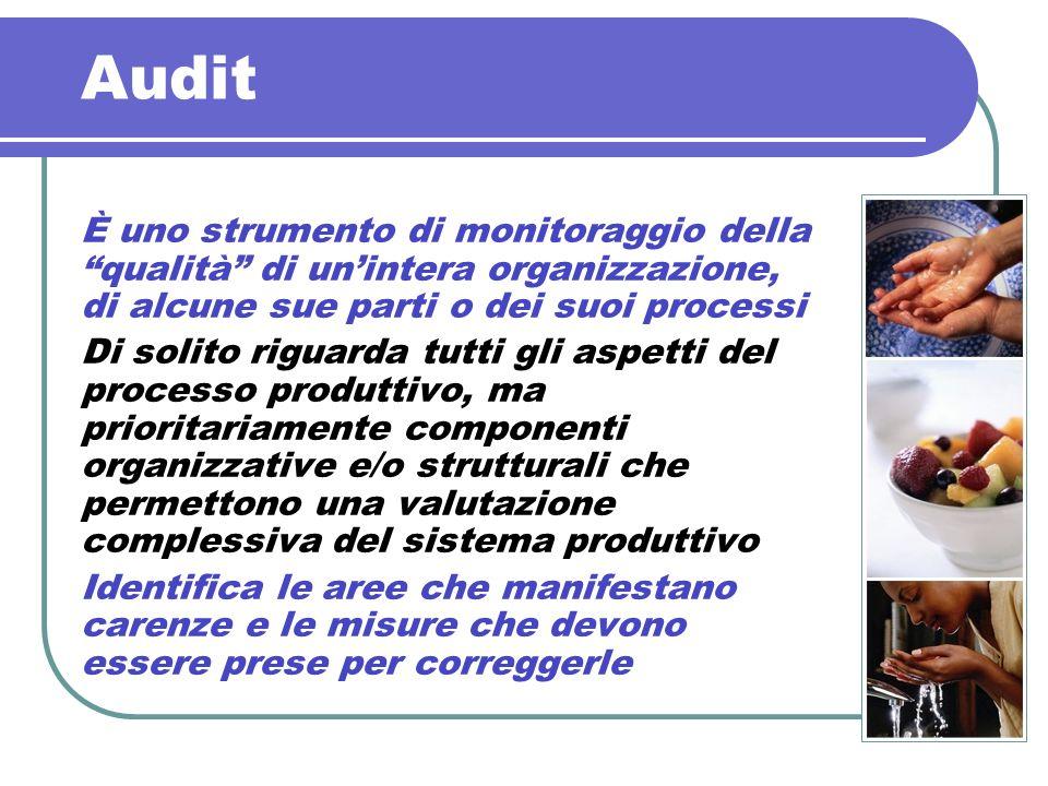 Audit È uno strumento di monitoraggio della qualità di un'intera organizzazione, di alcune sue parti o dei suoi processi.