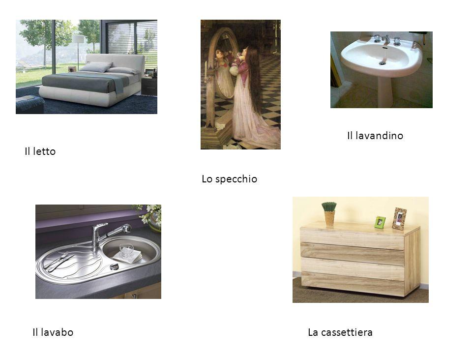 Il lavandino Il letto Lo specchio Il lavabo La cassettiera