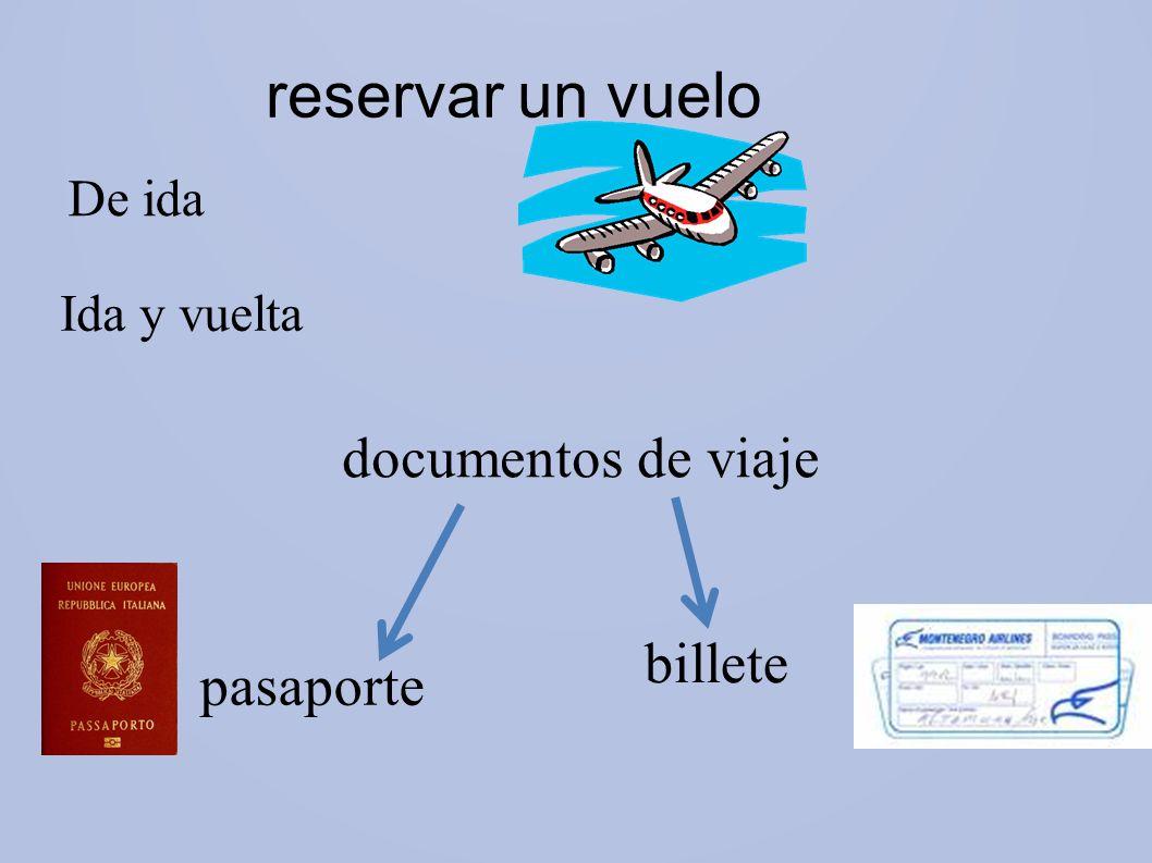 reservar un vuelo documentos de viaje billete pasaporte De ida
