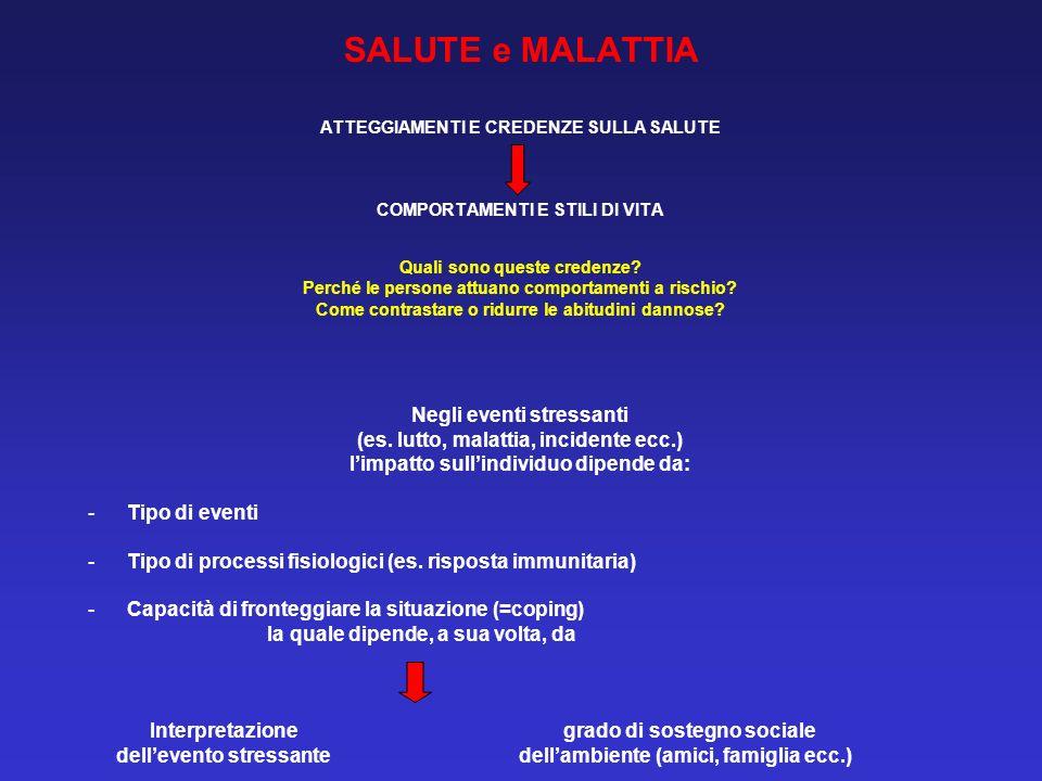 SALUTE e MALATTIA Negli eventi stressanti