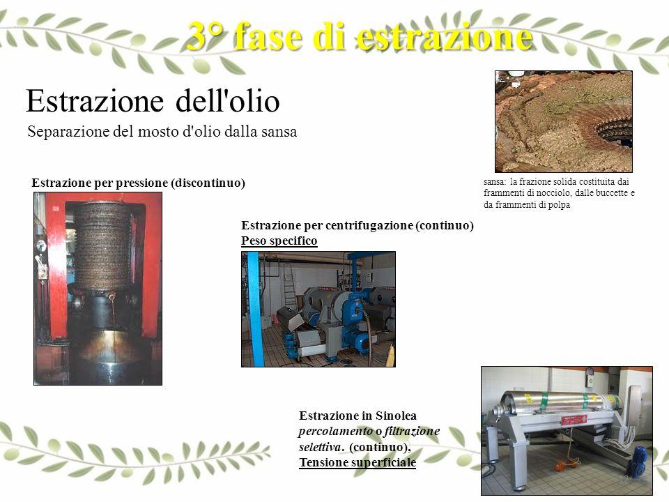 3° fase di estrazione Estrazione dell olio