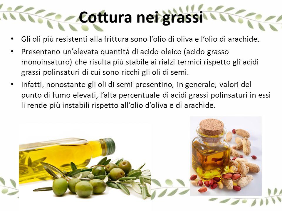 Cottura nei grassi Gli oli più resistenti alla frittura sono l'olio di oliva e l'olio di arachide.