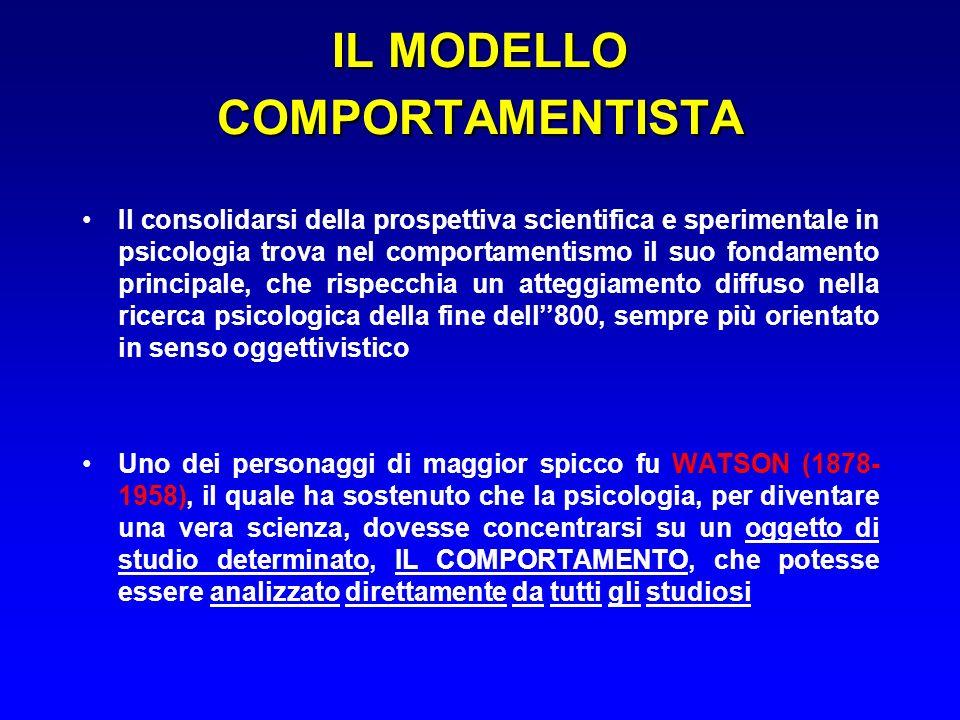 IL MODELLO COMPORTAMENTISTA