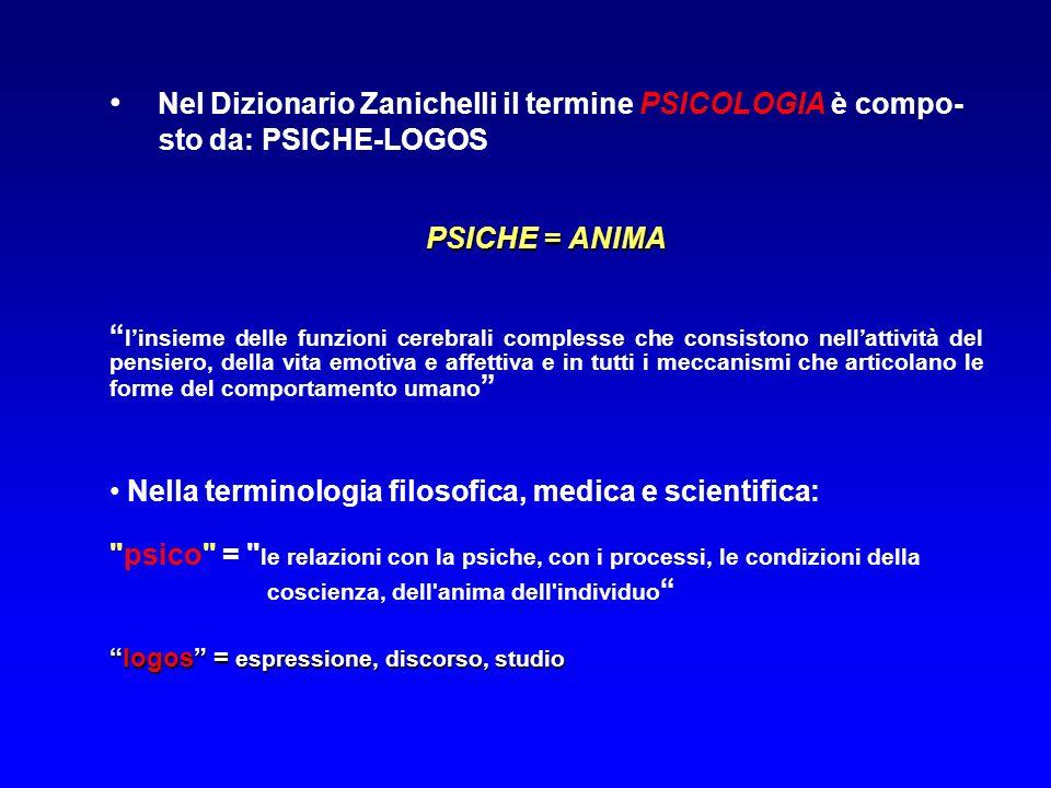 Nel Dizionario Zanichelli il termine PSICOLOGIA è compo-