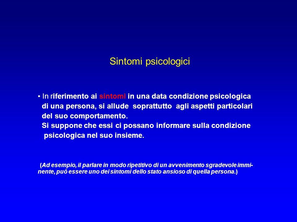 Sintomi psicologici In riferimento ai sintomi in una data condizione psicologica. di una persona, si allude soprattutto agli aspetti particolari.