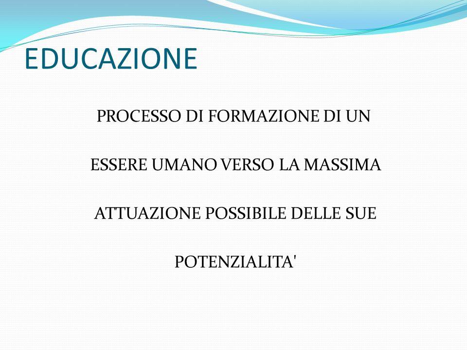 EDUCAZIONE PROCESSO DI FORMAZIONE DI UN ESSERE UMANO VERSO LA MASSIMA