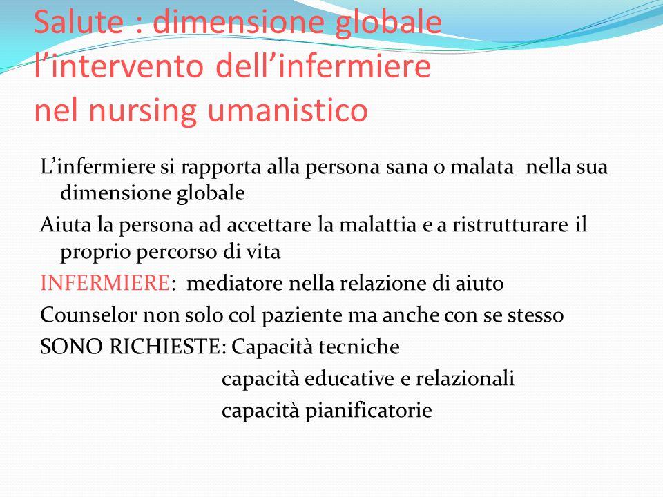 Salute : dimensione globale l'intervento dell'infermiere nel nursing umanistico
