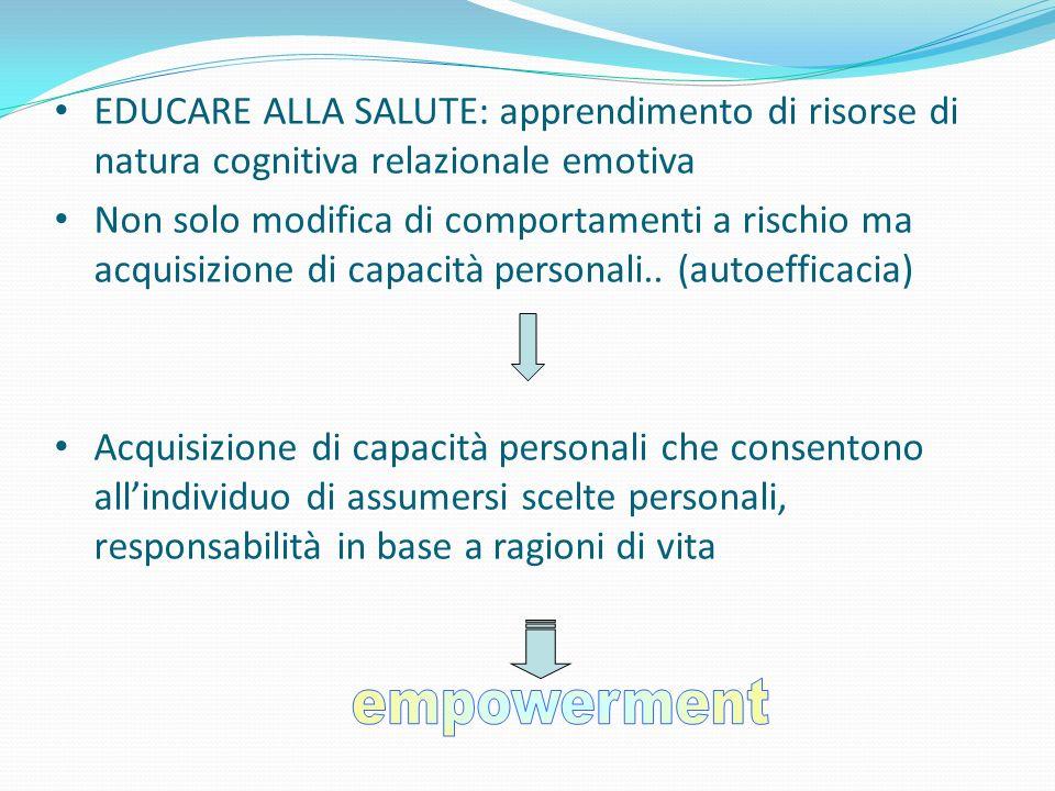 EDUCARE ALLA SALUTE: apprendimento di risorse di natura cognitiva relazionale emotiva