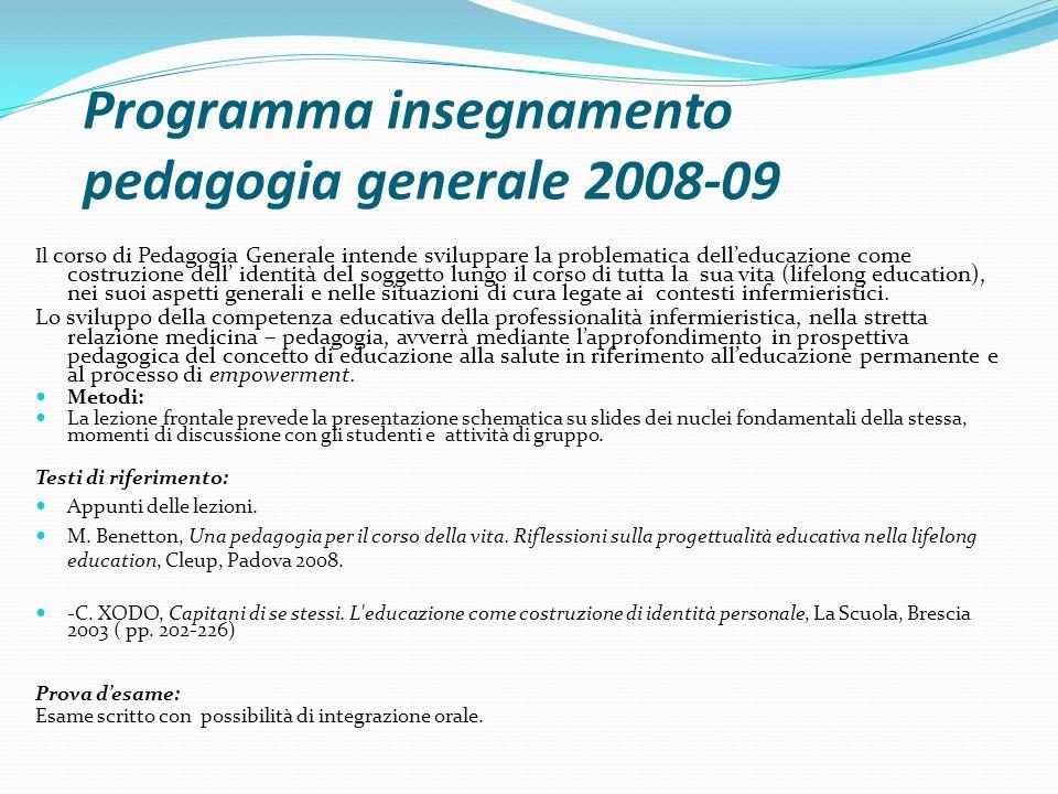 Programma insegnamento pedagogia generale 2008-09