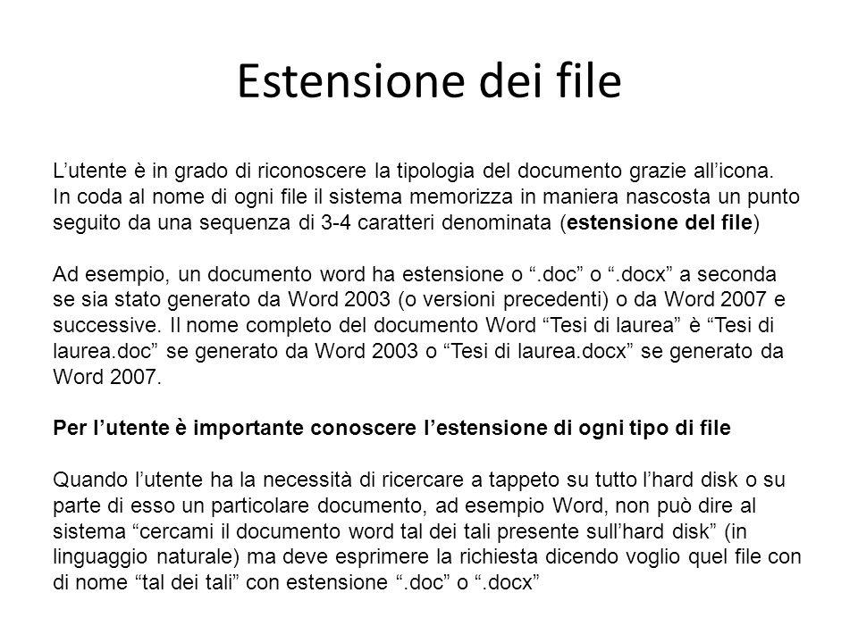 Estensione dei file L'utente è in grado di riconoscere la tipologia del documento grazie all'icona.