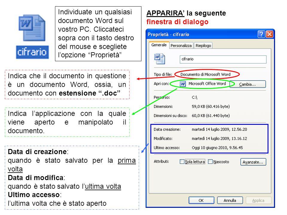 Individuate un qualsiasi documento Word sul vostro PC
