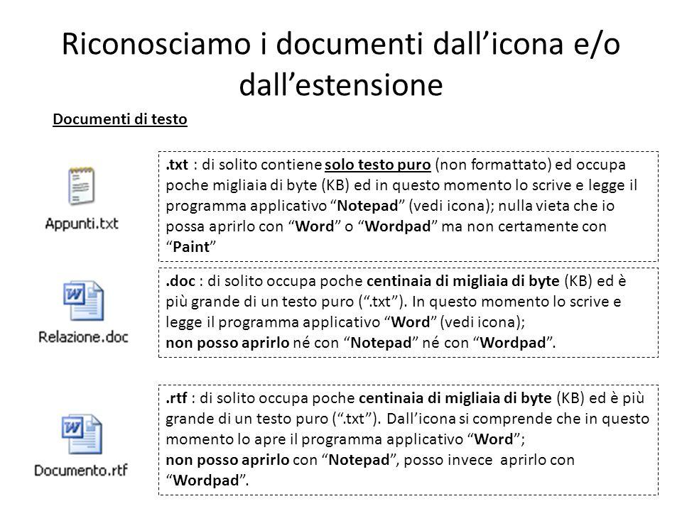 Riconosciamo i documenti dall'icona e/o dall'estensione