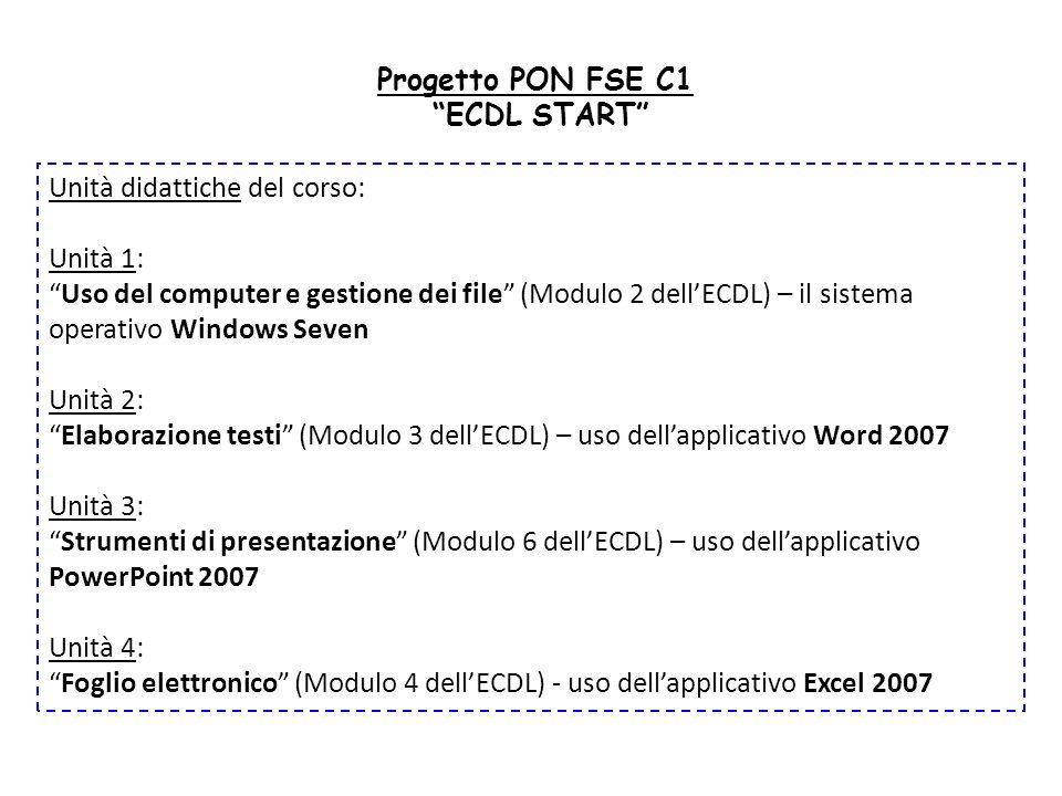 Progetto PON FSE C1 ECDL START