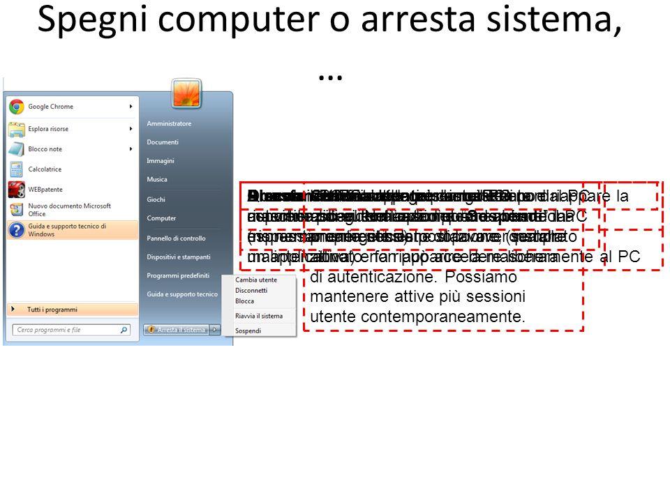 Spegni computer o arresta sistema, …