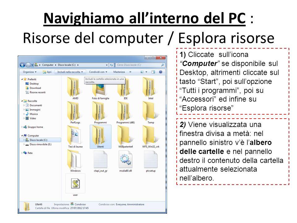 Navighiamo all'interno del PC : Risorse del computer / Esplora risorse