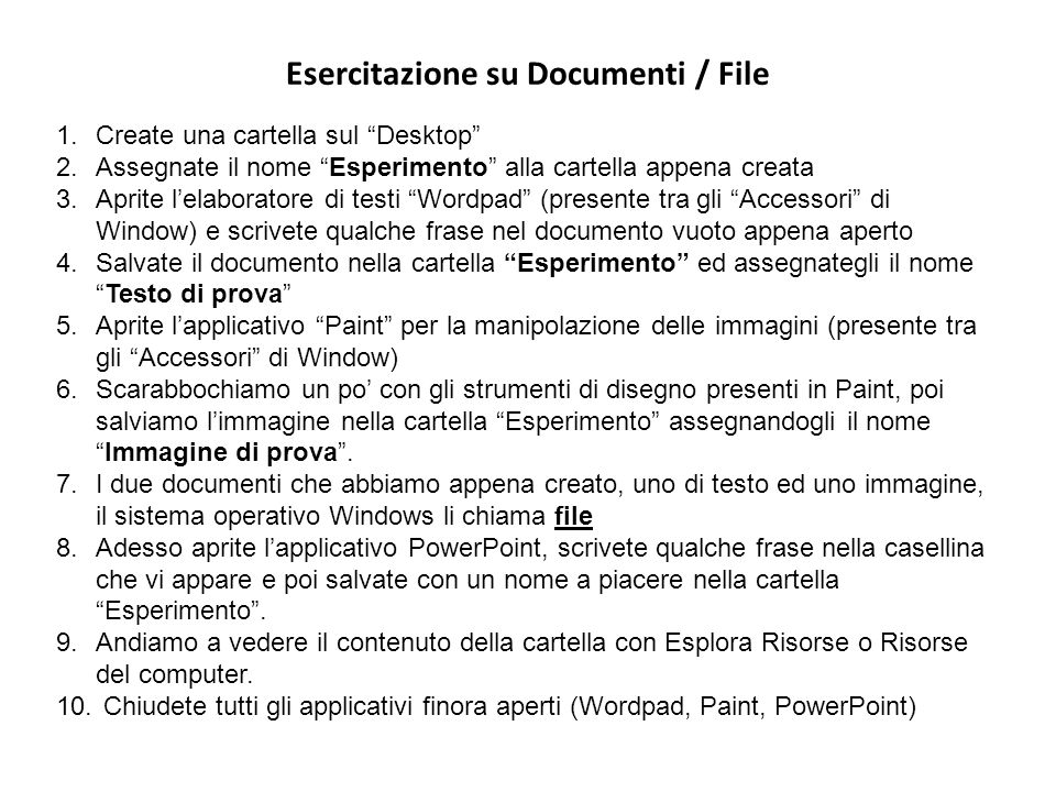 Esercitazione su Documenti / File