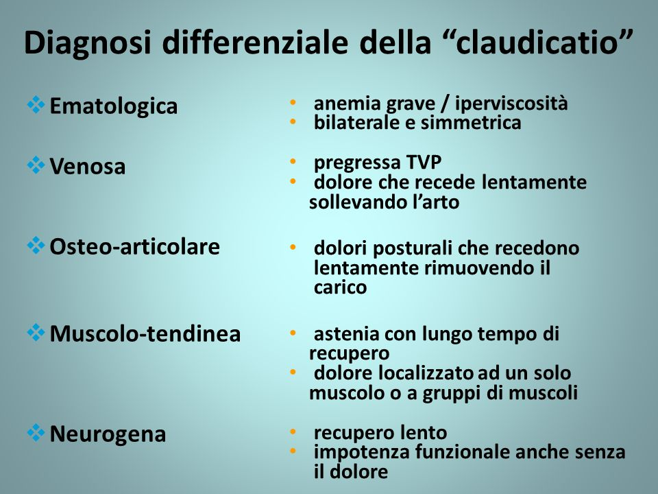 Diagnosi differenziale della claudicatio