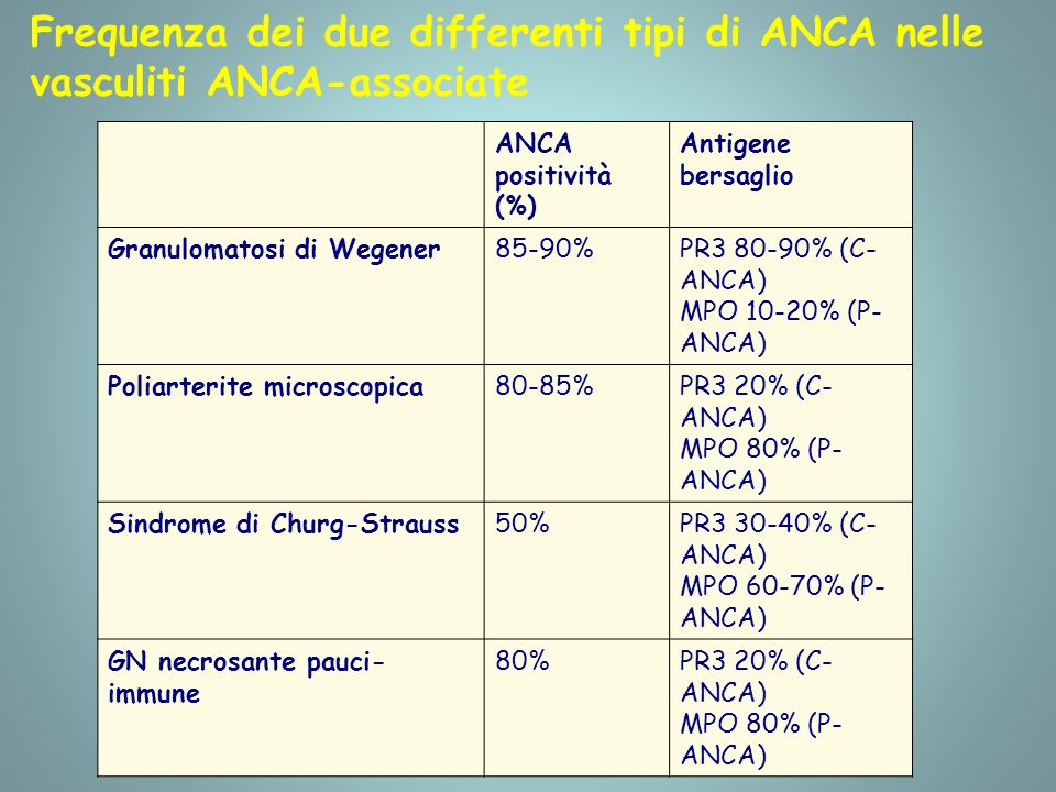 Frequenza dei due differenti tipi di ANCA nelle vasculiti ANCA-associate