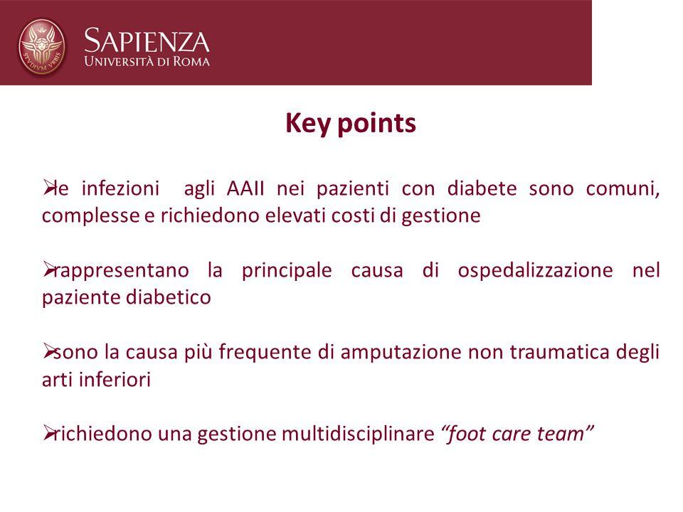 Key points le infezioni agli AAII nei pazienti con diabete sono comuni, complesse e richiedono elevati costi di gestione.