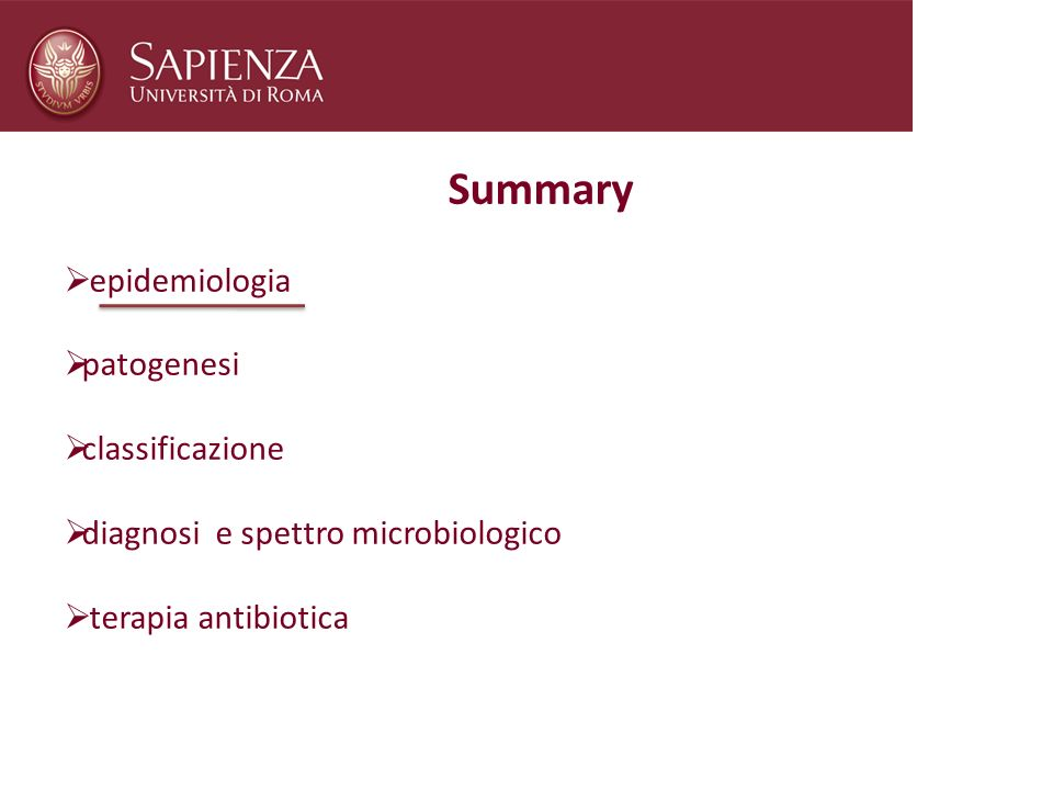 Summary epidemiologia patogenesi classificazione