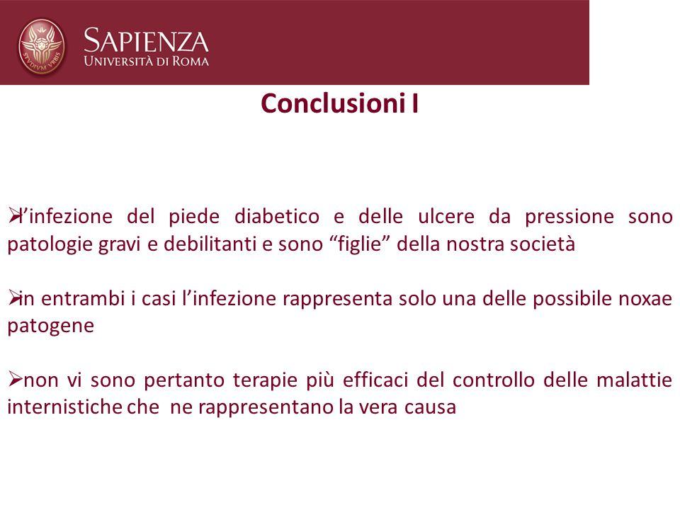 Conclusioni I l'infezione del piede diabetico e delle ulcere da pressione sono patologie gravi e debilitanti e sono figlie della nostra società.