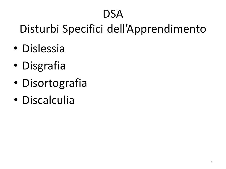 DSA Disturbi Specifici dell'Apprendimento