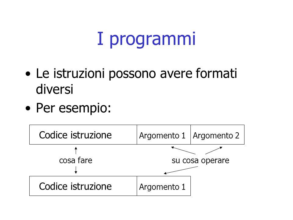 I programmi Le istruzioni possono avere formati diversi Per esempio: