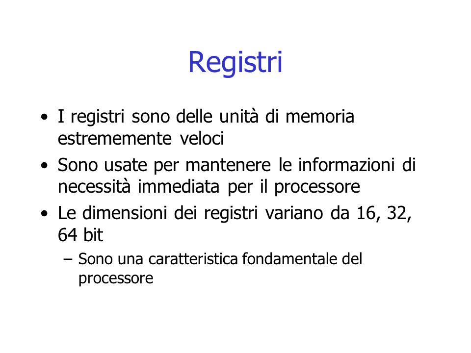 Registri I registri sono delle unità di memoria estrememente veloci