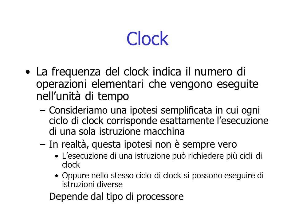 Clock La frequenza del clock indica il numero di operazioni elementari che vengono eseguite nell'unità di tempo.