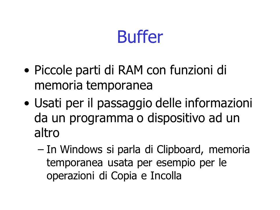 Buffer Piccole parti di RAM con funzioni di memoria temporanea