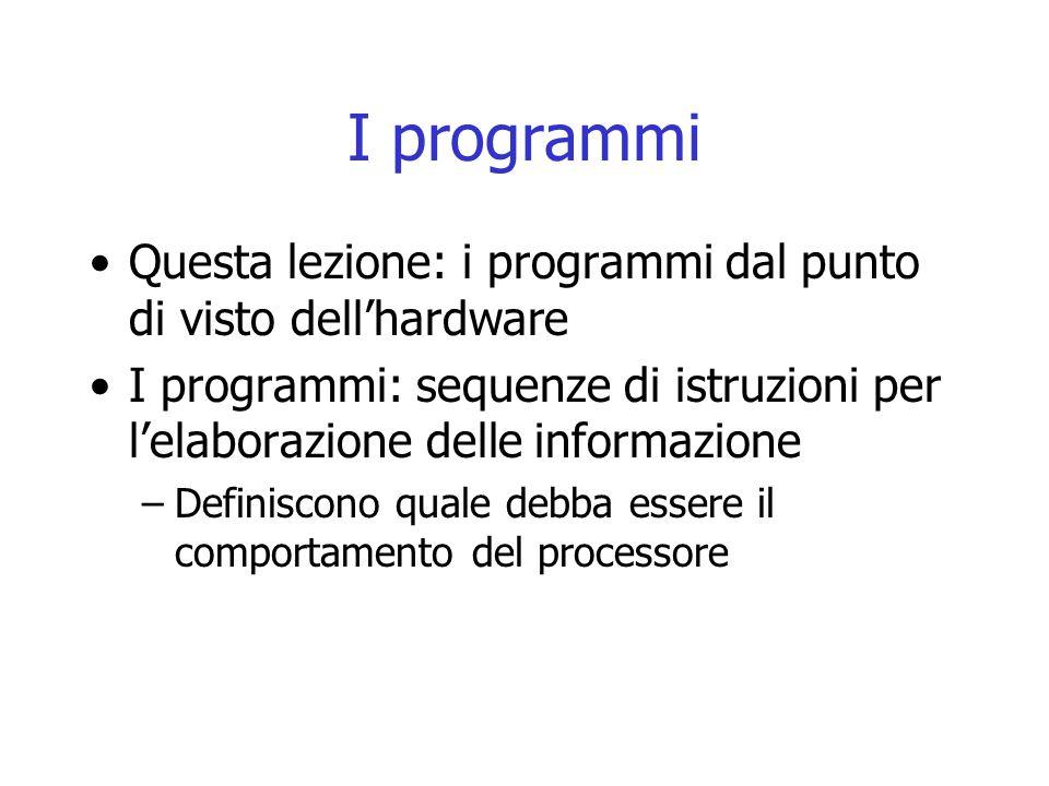 I programmi Questa lezione: i programmi dal punto di visto dell'hardware. I programmi: sequenze di istruzioni per l'elaborazione delle informazione.