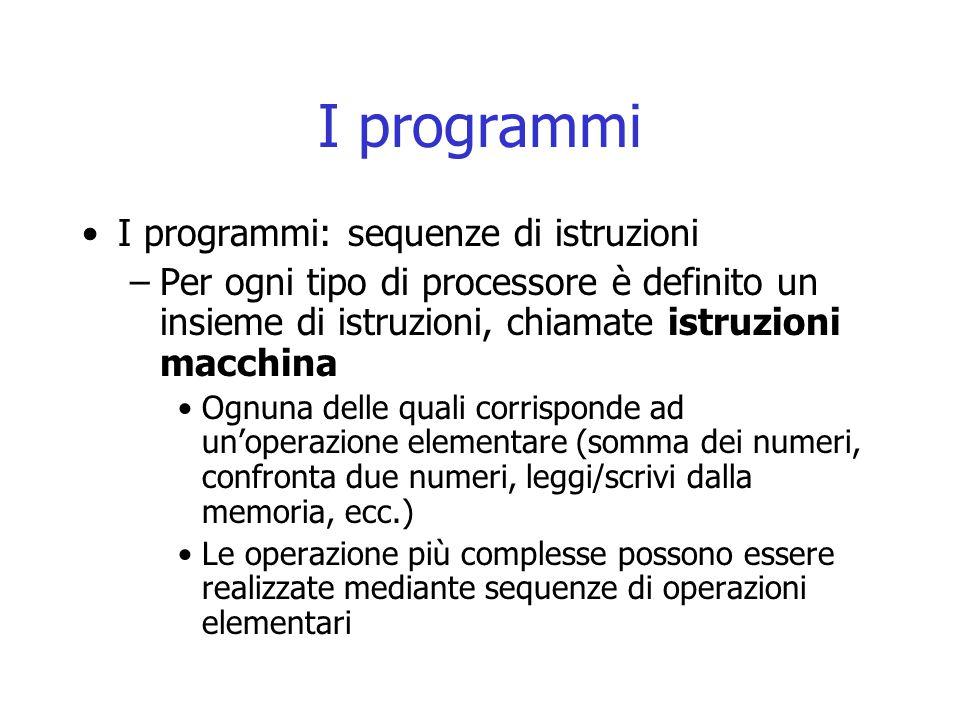 I programmi I programmi: sequenze di istruzioni