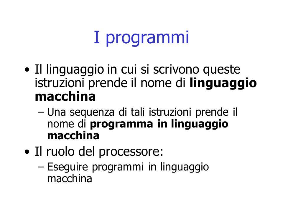 I programmi Il linguaggio in cui si scrivono queste istruzioni prende il nome di linguaggio macchina.