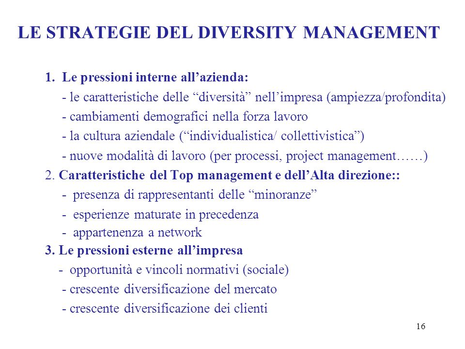 LE STRATEGIE DEL DIVERSITY MANAGEMENT