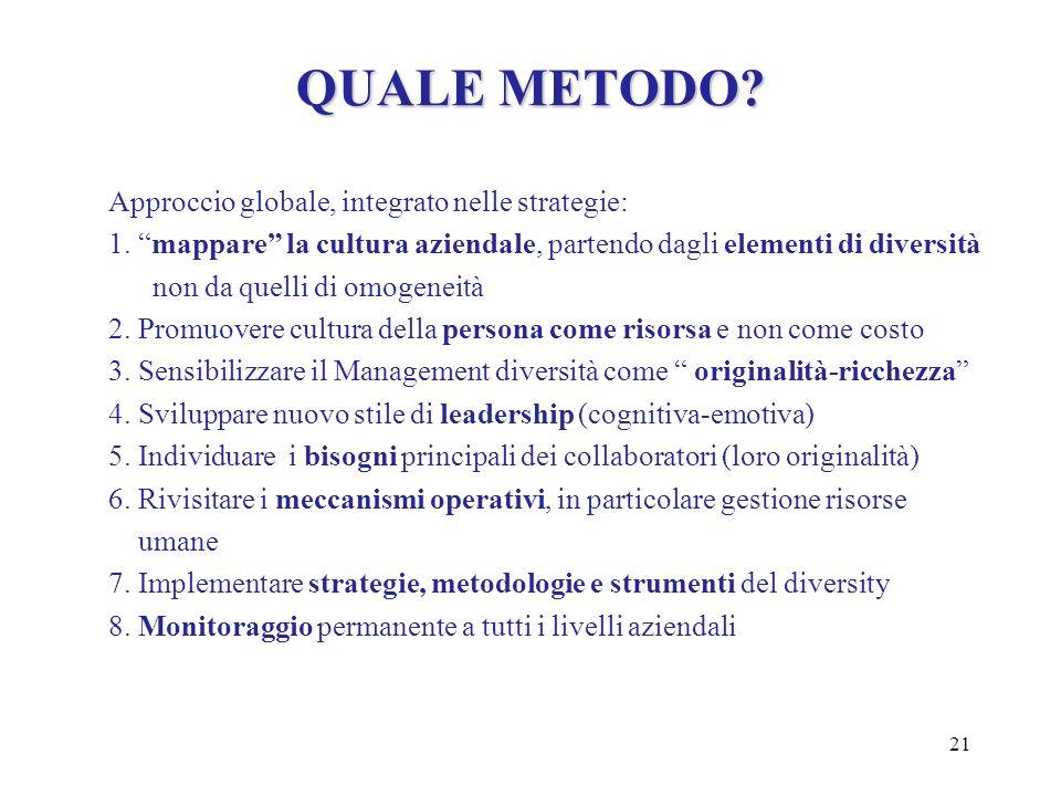 QUALE METODO Approccio globale, integrato nelle strategie: