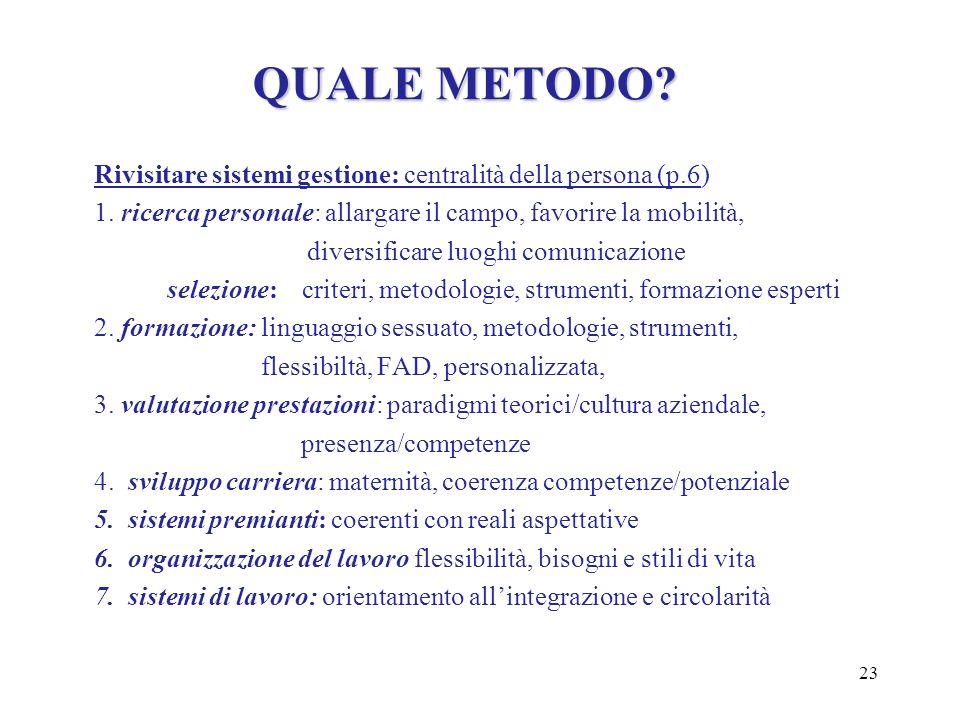 QUALE METODO Rivisitare sistemi gestione: centralità della persona (p.6) 1. ricerca personale: allargare il campo, favorire la mobilità,