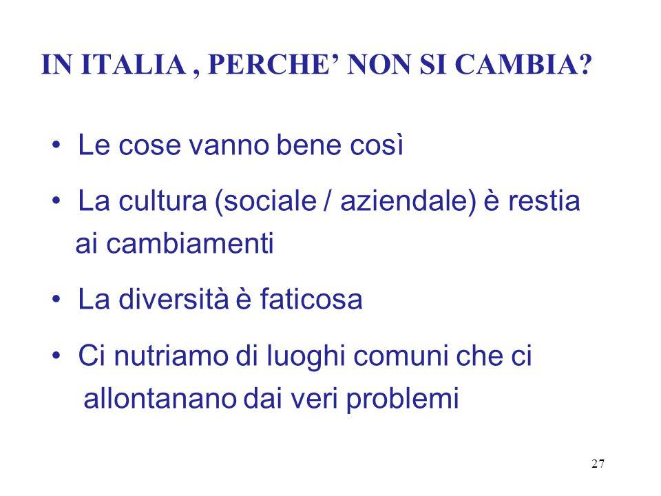 IN ITALIA , PERCHE' NON SI CAMBIA